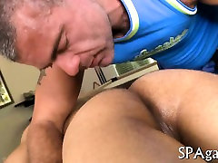 Cute gay boy is given a lusty spooning during massage