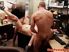 Straight pawnshop amateur facialized after anal