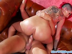 Busty squirting redhead inked milf closeup