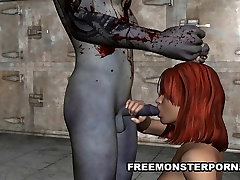 Busty 3D Redhead Fucked Hard by a Zombie