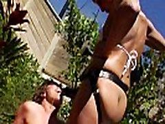 Outdoor enema lesbian straponfucked in duo