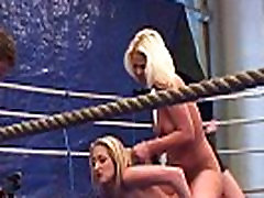 Lesbian babes enjoy naked wrestling