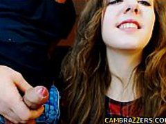 Cute young teen sucking cock on cam