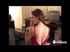 Skinny Petite Amateur Teen In Stockings &amp Thong Panties Masturbates