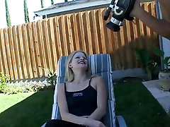 Blonde tramp takes cock in backyard with panties on in miniskirt