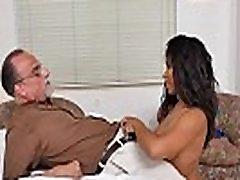 Sexy ebony nurse Jenna bangs two aged cock