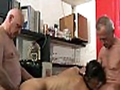 Slutty school girl double cum shot after anal fuck two old men in a bar