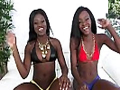 Kay And Destinee bounce their big black butts in a 3some1080-2
