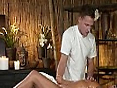 Busty tanned milf fucks on massage