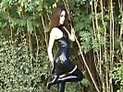 Outdoor latex fetish and shiny rubber wear exposure of naughty Olivia in tight k