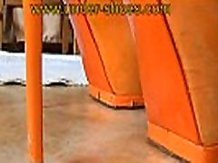 Miss Katarina extreme orange high heels destruction