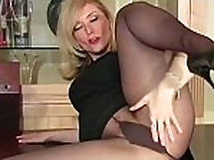 Hirsute pussy in black tights
