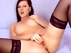 Hot Brunette With Black Stockings Play With Pussy on 4xcams.com