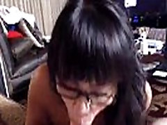 White cock starving honey asian babe gives deep blowjob