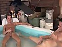 Gay young twink brother Jarrod strokes his nut as Cj busts another