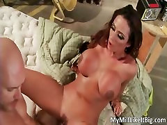Perfect brunette MILF with big tits part1