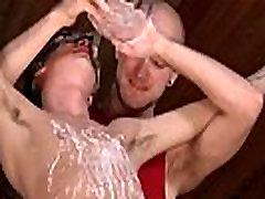 Hot gay scene Kieron Knight loves to deepthroat the warm jizz flow