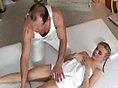 Blonde babe fucks and oils her masseur