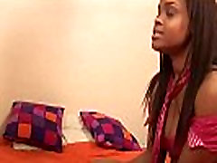 Busty ebony gets fucked by her step brother in her bed