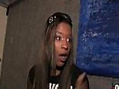 Hot ebony chick in interracial gangbang 11