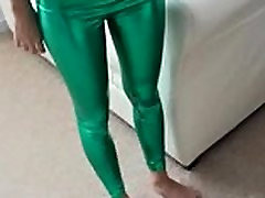 Sizzling hot Sasha in shiny green PVC panties