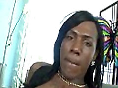 Black shemale cums in hot solo