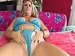 Blonde BBW rubbing and blowing