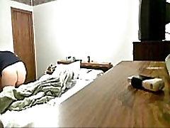 My mom masturbating in bed room caught by hidden cam