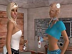 Two sexy big tit 3D blonde babes share a big cock