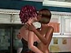 Two sexy 3D cartoon ebony lesbians doing the deed