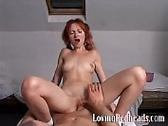 Horny redhead fucked in spicy threesome