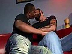 Horny black guy sucking friends cock