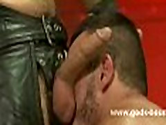 Gay bondage ritual with strong slave