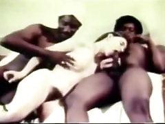 Interracial Vintage XXX Movie Scene White Whore Fucking with Blacks