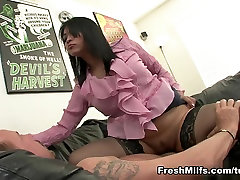 Tight Oriental MILF Rides Huge White Meat