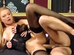 Beautiful blonde black stockings hardcore