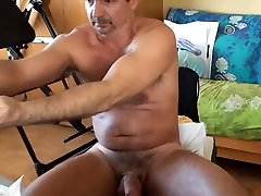 Stretched and buzzed by a big black dildo!