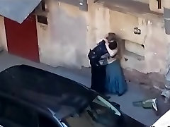 Chubby mature fucks with a man in the parking lot, public sex