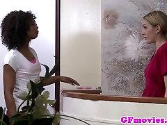 Ebony lesbian fingering asian beauty