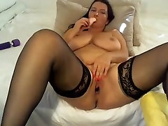 Big natural tits mature dildo masturbation