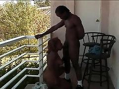 Ebony Beauty Gives Head On Balcony