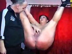 Hot naked mature tied up and spanked on her shaved cunt