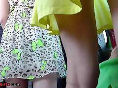 Pretty yellow dress and sexy upskirt thong panties