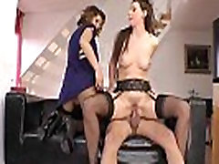 Mature english lingerie milf sucking in trio