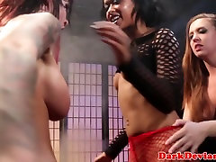 Lezdoms strapon fucking in BDSM threeway