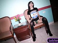 Petite ladyboy gives a handjob and blowjob on video
