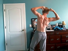 Cute Blonde Teen Flexes His Hard Muscles