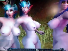 Three Night Elf Cock Milking Squad