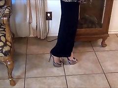 Long Sexy Legs in Silver Stilettos