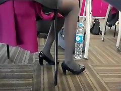 Candid Flight Attendant Shoeplay Feet Nylons Pantyhose 1